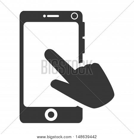 hand pointing a smartphone mobile phone. communication and technology device. vector illustration
