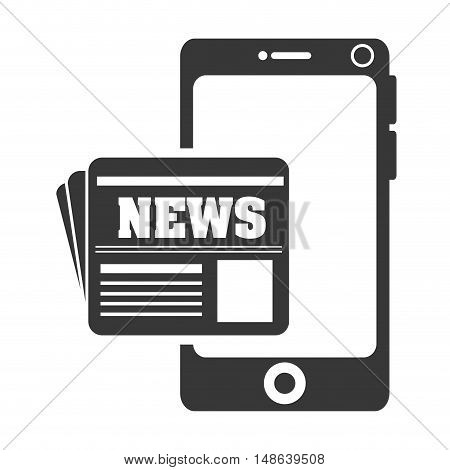 smartphone mobile phone and newspaper icon. communication and technology device. vector illustration