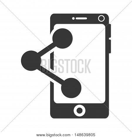 smartphone mobile phone and share icon. communication and technology device. vector illustration