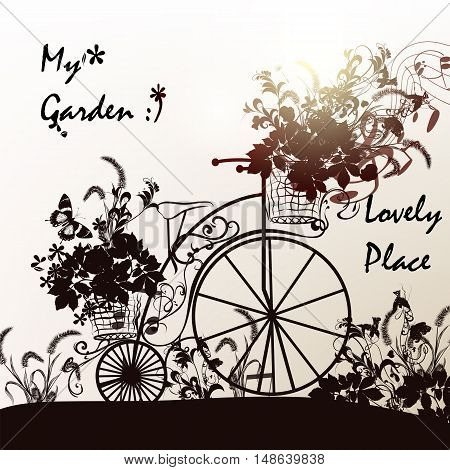 Illustration with silhouette of old fashioned bicycle and basket of flowers Garden concept. Ideal for backgrounds T-shirt prints wedding
