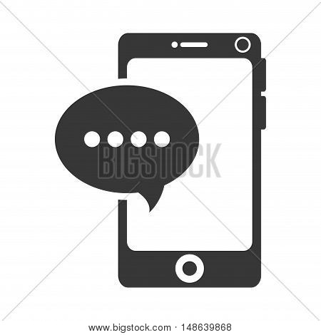 smartphone mobile phone and speech bubble. communication and technology device. vector illustration