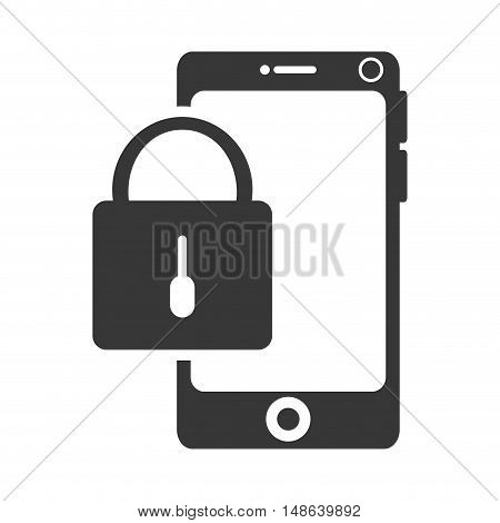 smartphone mobile phone and lock security object. security and technology device. vector illustration