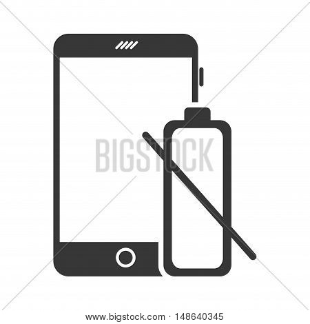 smartphone mobile phone and battery low icon. communication and technology device. vector illustration