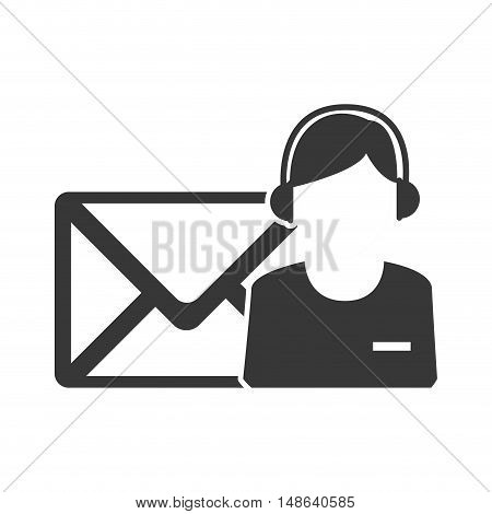 envelope mail message letter with avatar support man  icon. vector illustration