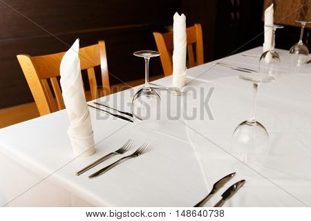 View of the served for dinner table in restaurant