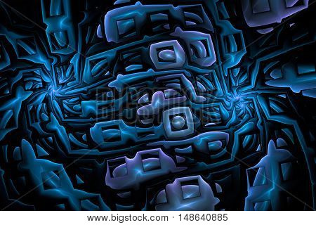 Abstract shining puzzles on black background. Fractal design in deep blue colors.