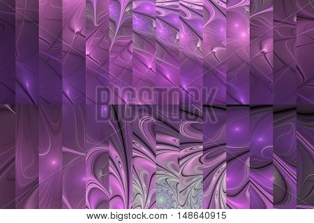 Abstract fractal design in pink purple and grey colors.