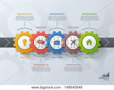 Timeline Business Infographic Template With Gears Cogwheels 5 Steps, Processes, Parts, Options. Vect