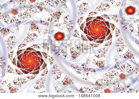 Stylized roses. Abstract fantasy ornament on white background. Computer-generated fractal in red orange grey and blue colors