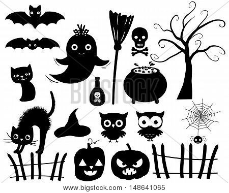 Vector Collection of Halloween Silhouettes in Black