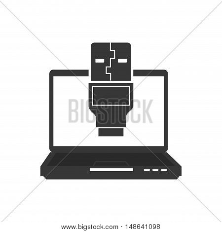 laptop computer technology device with usb plug icon. vector illustration