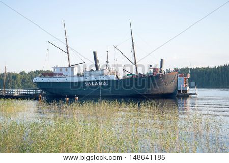 SAVONLINNA, FINLAND - AUGUST 20, 2016: A view of the steamer
