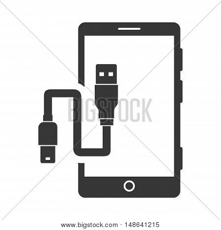 smartphone mobile phone with usb cord. communication and technology device. vector illustration