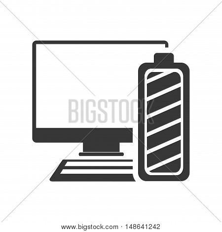 computer monitor screen technology device with power battery icon. vector illustration