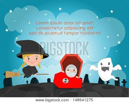Happy Halloween Poster Party and theme design background, Template for advertising brochure,your text, Vector Illustration