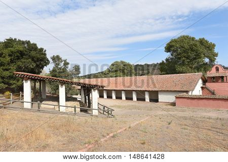 LOMPOC, CALIFORNIA - SEPTEMBER 21, 2016: Tallow Vats at La Purisima. The rendered tallow was traded or used at the mission for cooking, candle making and soap.