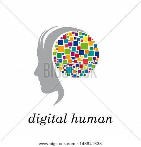 Vector sign digital generation head and pixel