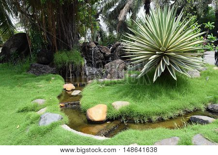 stream landscaping in zen garden for tourism
