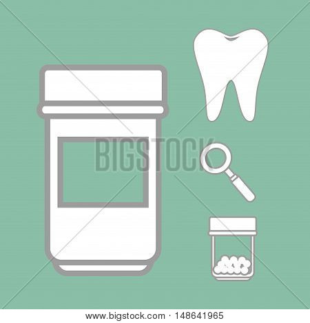 oral tooth with magnifying glass and medicine bottle over green background. vector illustration