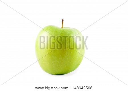 Green apple sliced over white background, isolated