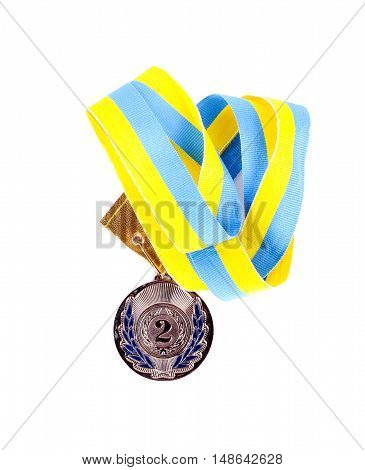 Second place medal over white background, top view