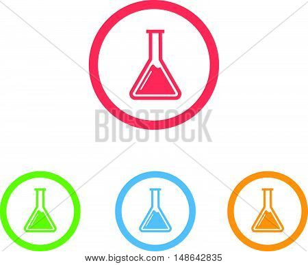 Colorful Set of Chemistry Flask or Beaker Icons