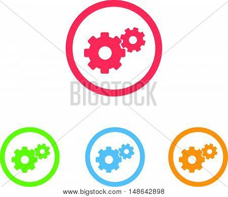 Colorful Set Of Setting or Gear Icons