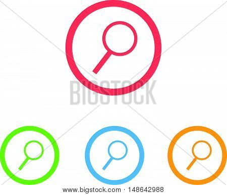 Colorful Set of Magnifier Glass or Search Icons