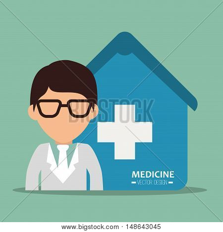 avatar man medical assistance with blue house with white cross. medicine symbols. colorful design vector illustration