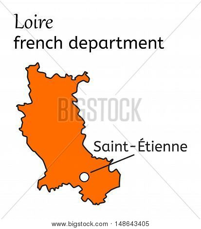 Loire french department map on white in vector