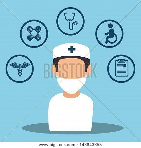 avatar nurse man medical  assistance with medicine icon set. colorful design. vector illustration