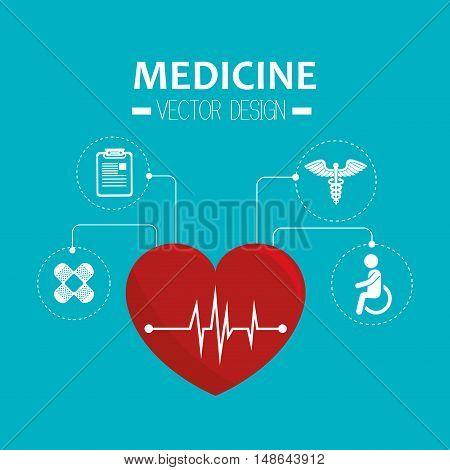 cardio pulse red heart medicine symbol. vector illustration