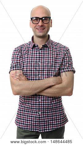 Portrait Of Fashionable Bald Man