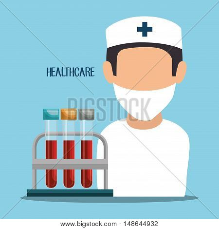 avatar nurse man medical  assistant with test tubes healthcare analysis. colorful design. vector illustration