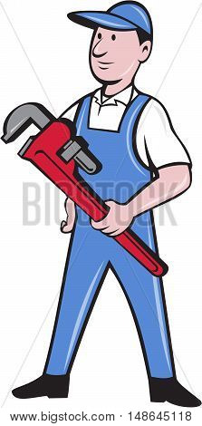 Illustration of a handyman wearing hat looking to the side standing holding pipe wrench viewed from front set on isolated white background done in cartoon style.