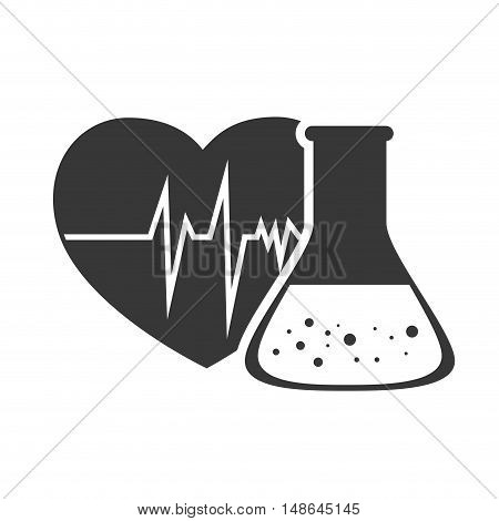 cardio pulse heart with conical flask chemistry bottle. vector illustration