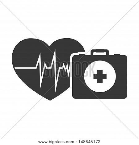 cardio pulse heart with briefcase healthcare emergency kit. vector illustration