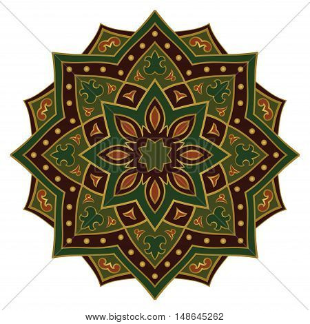 Ethnic green mandala. Template for carpet textile blanket shawl. Vector oriental pattern.