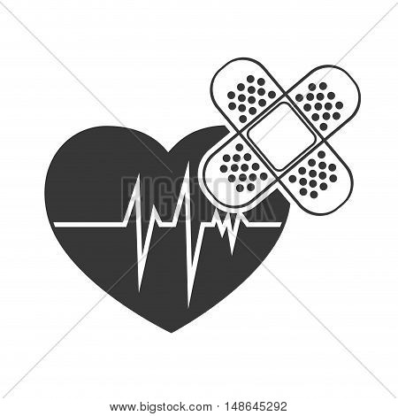 cardio pulse heart with adhesive bandage. vector illustration