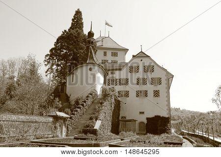 old Castle Wildegg in Switzerland in sepia
