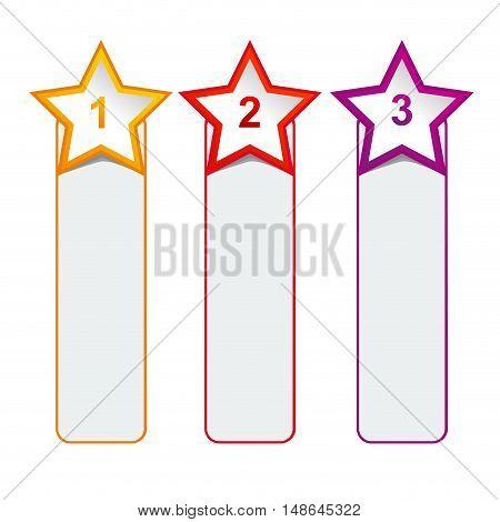 Vector faq labels three options with stars