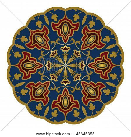 Eastern mandala. Vector elegance ornament. Design for any surface. Stylized template for carpet.