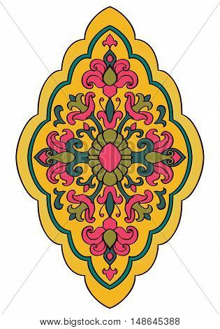 Bright floral ornament. Template for carpet shawl wallpaper textile and any surface. Vector pattern of pink yellow and green tones.