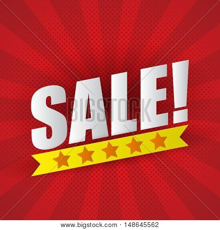Sale poster background with five star sale banner design