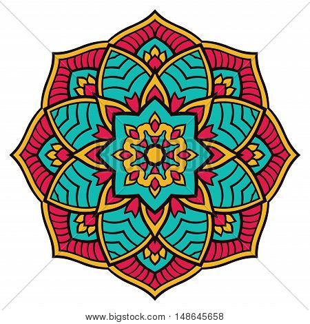 Oriental bright mandala. Vector colorful pattern. Template for textile carpet wallpaper shawl. Design element for t-shirt print.