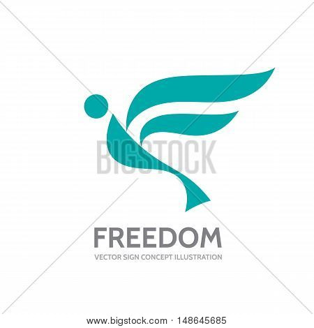 Freedom - vector logo template concept illustration. Abstract human with wings creative sign. Design element.