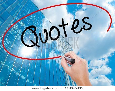 Man Hand Writing Quotes  With Black Marker On Visual Screen