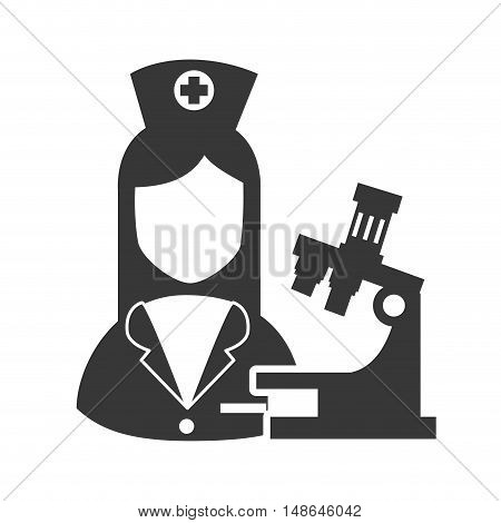 avatar woman nurse with microscope research and medicine icon. vector illustration