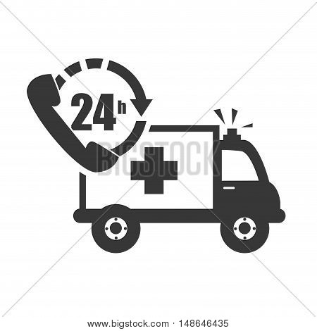 ambulance emergency medical vehicle with call center service icon. vector illustration