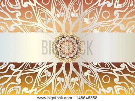 beautiful unusual background with iridescent yellow, brown and orange colors. Circular floral ornament. Hand drawn vector stock illustration